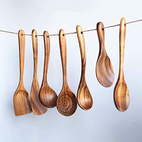 Loned Küchenhelfer Set, 7 Stück Holz Küchenutensilien Sets, Hitzebeständig und Antihaft, Japanischer Stil - 6