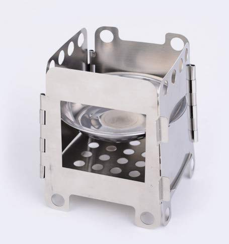 WSNDD Small Outdoor Camping Picnic Stove Stainless Steel Foldable Alcohol Stove Rack