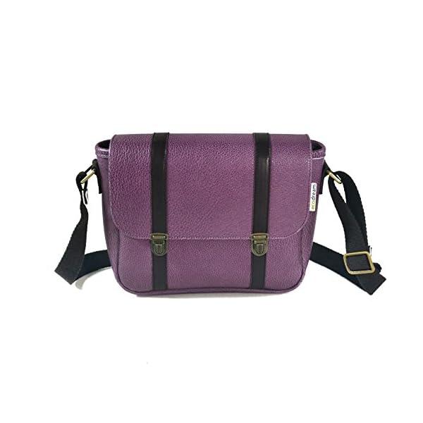 Handbag with shoulder strap; violet leather; eco-friendly - handmade-bags
