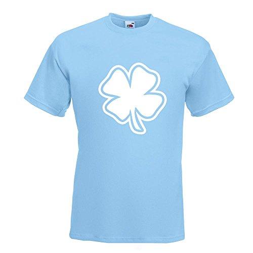 KIWISTAR - Kleeblatt - Glück T-Shirt in 15 verschiedenen Farben - Herren Funshirt bedruckt Design Sprüche Spruch Motive Oberteil Baumwolle Print Größe S M L XL XXL Himmelblau