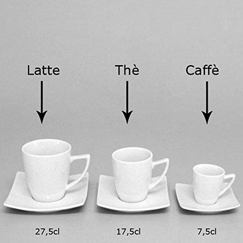 Pack 4Tassen Tee Cappuccino + 4Untertassen weiß Serie Tokio Saturnia Porzellan 17,5cl 4 Untertassen
