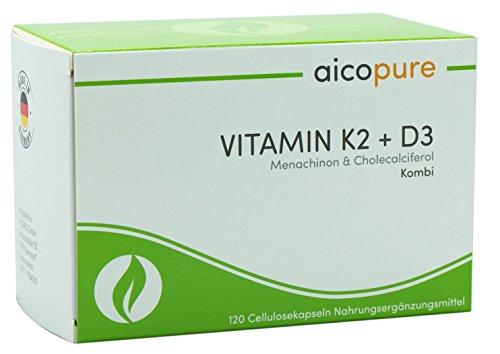 VITAMIN K2 & D3 • Menaquinon MK7 & Vitamin D3 Cholecaliferol • vegan • Kapseln • Made in Germany (120 Kapseln) (Sulfat-salbe)
