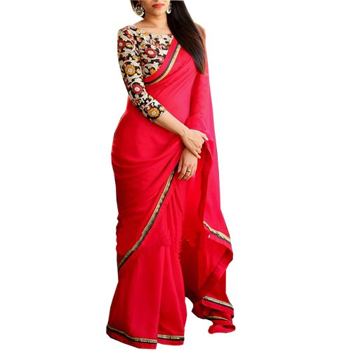 Rozdeal Women's Georgette Border Work Red Plain Saree