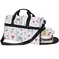 Buyxbn Alpaca White Duffel Bag with Shoe Compartment Extra Large Weekend Travel Pro Training Holdall for Men Women Unisex 35-40 L