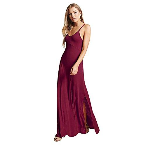 amen Kleider Lange Brautjungfern Hochzeit Party Strap einfarbig Casual Kleid ()