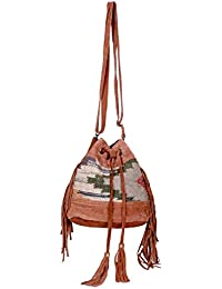 IndiWeaves Women Vintage Handmade Kilim Leather Handle Cross Body Sling Bag - B07658PQ5T