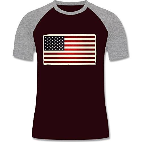 Kontinente - Flagge USA - zweifarbiges Baseballshirt für Männer Burgundrot/Grau meliert