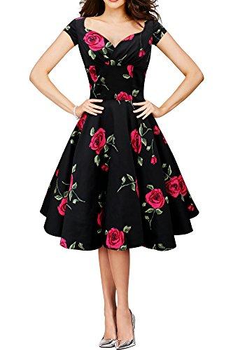BlackButterfly 'Ruby' Vestido Vintage Infinity Swing (Negro - Grandes Rosas, ES 44 - XL)