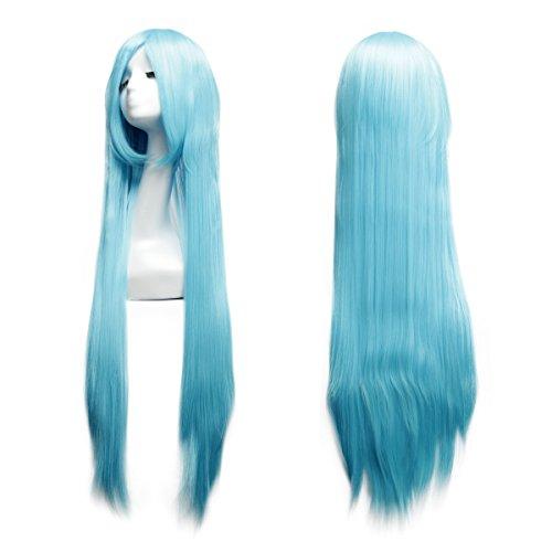 Perruque Raide Longue Femme 100 CM avec Frange Filet à Cheveux pour Cosplay Halloween Soirée Déguisement -Dazone®-Bleu Ciel
