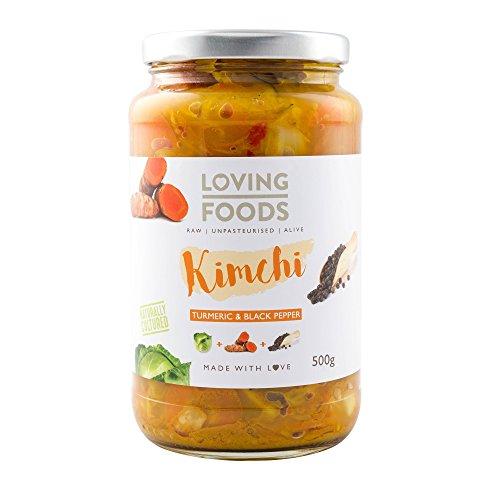 Loving Foods Orgánico Kimchi Cúrcuma & Pimienta Negra Kimchi (500g) CRUDO | SIN PASTEURIZAR | VIVO (1 x Jar)