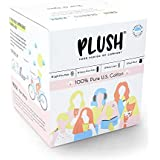Plush 100% Pure US Cotton 14 Ultra-Thin Natural Pads - 8 Light Flow, 6 Heavy Flow, 2 Liners and 1 Cotton Pouch