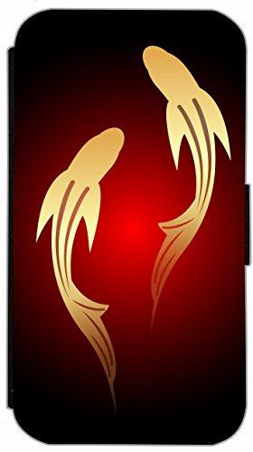 Kuna Flip Cover für Apple iPhone 5 / 5s Design K396 Farbspiel Blau Rot Grün Schwarz Hülle aus Kunst-Leder Handy Tasche Etui mit Kreditkartenfächern Schutzhülle Case Wallet Buchflip Rückseite Schwarz V K395