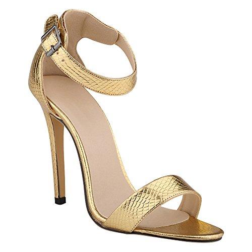 Eastlion Damen und Mädchen Krokodil Muster Stilett Hoch Hacke Sandalen,34-41 Gold