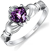 JewelryPalace Cuore 0.5ct Celtica Irlandese Claddagh Naturale Ametista Birthstone Promise Anello 925 Argento Sterlina