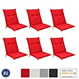 Beautissu 6er Set Niedriglehner Auflagen Set Base NL 100x50x6cm Sitzkissen Rückenkissen Stuhlkissen für Gartenstühle Sitzpolster Rot