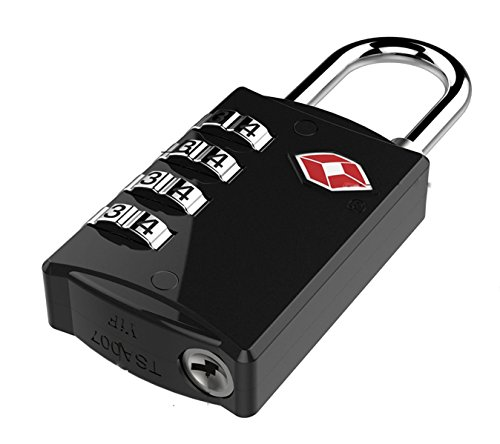 DOCOSS-309 - 4 DIGIT LOCK - TSA LOCK Approved Lock Metal 4 Digit For USA International Number Locks For luggage Bag Travelling Password Locks Combination Lock Travel Locks Padlock (Black)