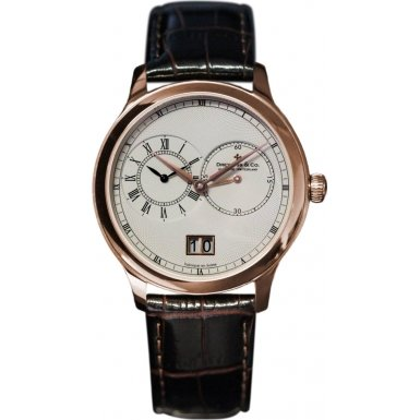 Dreyfuss and Co DGS00122-06 Mens Dual Time Watch With Brown Croco Grain Strap