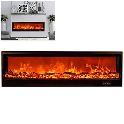 NANANA Elektrischer Kaminofen mit Flammensimulation und Heizlüfterfunktion, Ambiente-Beleuchtung, Fernbedienung, Wandmontage, Glas-Front, Schwarz, 900x260x140mm