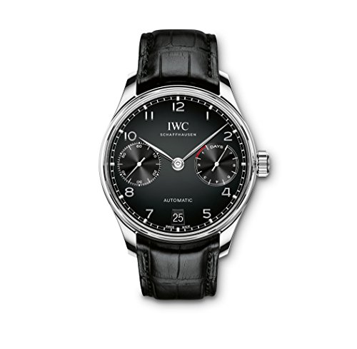 IWC Men's 42mm Black Leather Band Steel Case Automatic Analog Watch IW500703