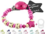 ZauberStern Schnullerkette mit Namen | für Mädchen & Junge | Handgefertigt in Deutschland aus 100% HOLZ | mit Perlen, Buchstaben mit Name und Clip | GRATIS Silikonring Adapter (Pink)