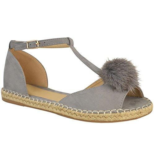Sandales plates - style espadrilles/à pompon/bride cheville - femme Faux suède gris/corde/doux