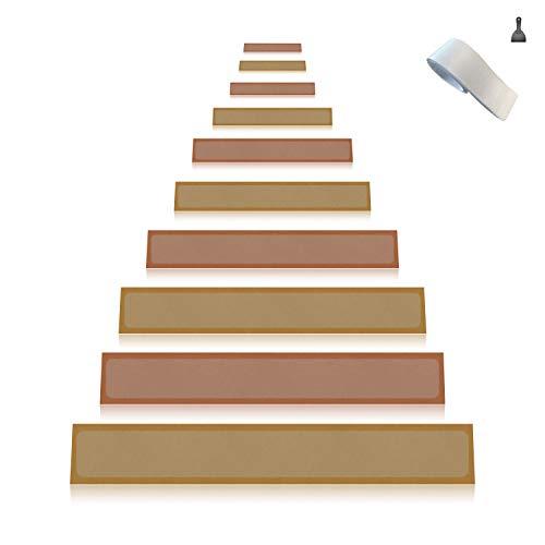 Any Beauty 15er Pack (10 x 60 cm), rutschfest klar selbstklebend Stufenmatte Treppenstufe antirutsch treppe, durchscheinend Sicherheit Treppe Traktion Hartholz reifenprofile, PVC-frei Anti Rutsch Clear Adhesive Strips Klebestreifen, Baby/ältere/Pet Sicherheit,Indoor / Outdoor
