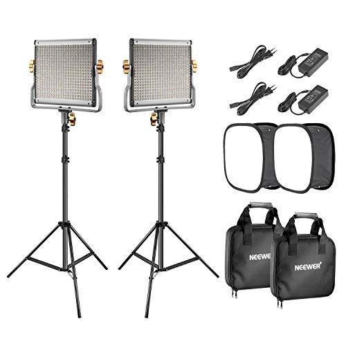 Neewer 2er-Pack 480 LED Videoleuchten Beleuchtung Set: Dimmbares zweifarbiges LED Tafel 3200-5600K CRI 96+ 2m Lichtstativ und Softbox Diffusor für...