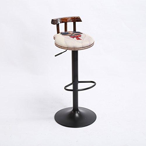 RFJJ Vintage Bar Chair kann gehoben und gesenkt Werden Cushion Bar Creative Hochstuhl europäischen Stil Holzstuhl Höhe 60-80cm -