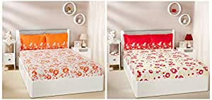 Amazon Brand - Solimo Jasmine Zest 144 TC 100% Cotton Double Bedsheet with 2 Pillow Covers, Peach + Jasmine Zest 144 TC 100% Cotton Double Bedsheet with 2 Pillow Covers, Red Combo
