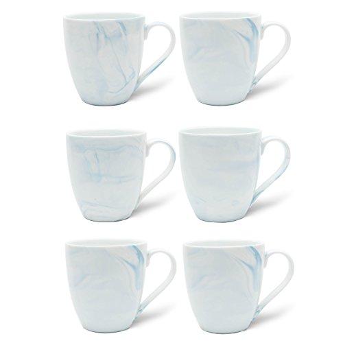 Hausmann & Söhne XXL Tasse weiß groß aus Porzellan in Pastell hell-Blauer Marmorierung   Jumbotasse 500 ml (550 ml randvoll) im 6er Set   Kaffee- / Teetasse groß   Kaffeebecher   Geschenkidee
