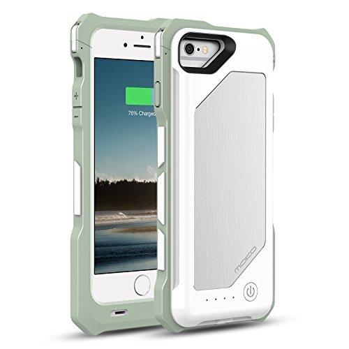 [Apple MFi Zertifiziert] MoKo 3500mAh Power Bank Akku Hülle Aufladbare Externe Batterie Ladehülle Backup Accu Charging Smart Battery Case Cover für Smartphone Apple iPhone 6 4.7 Zoll,Weiß Weiß