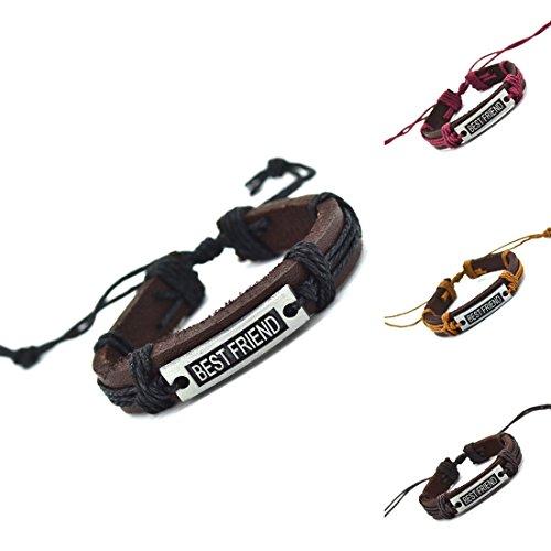 OBSEDE Beste Freund Armband Leder Freundschaft Armbänder String Kit für Frauen Männer Jungen Mädchen Einstellbar 4 Stücke