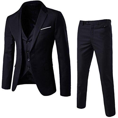 Sunshey Herren Anzug 3-Teilig Slim Fit Anzugsjacke Anzugsweste Anzugshose ein knopf Muster 9 Farben (3-knopf Schwarz Herren Anzug)