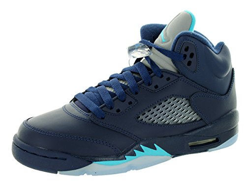 Nike Jungen Air Jordan 5 Retro BG Turnschuhe, Azul/Blanco (Midnight Navy/Trqs Blue-White), 38 EU (Air Jordan Retro 5 Kinder)