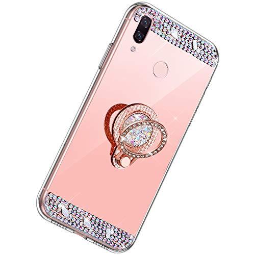 Herbests Kompatibel mit Huawei Nova 3i Hülle Glitzer Diamant Bling Strass Glänzend Kristall Handyhülle Spiegel Hülle Mirror TPU Silikon Case Handytasche mit Ring Ständer Halter,Rose Gold