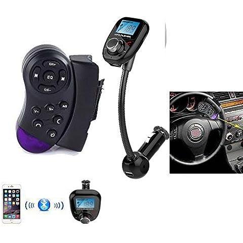 Pupug - Reproductor MP3 Bluetooth, transmisor modulador FM, USB, SD, pantalla LCD, control para volante de coche para Samsung Galaxy