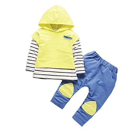 kleidung mädchen Kolylong® 1 Set ( 6-24 Monate ) Baby Mädchen Streifen drucken Anzug (Tops + Hosen) Herbst Suit Outfits Mit Kapuze Babykleidung (90CM(12-18 Monate), Gelb) (Hose 1 Set)