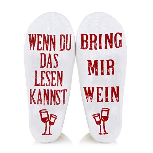 Amteker Lustige Socken - Wenn Du das Lesen Kannst Wein Geschenk für Weinliebhaber, Socken Weihnachten Geschenk für Frauen Männer Valentinstag, Papa Geschenkideen