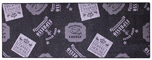 Küchenläufer / Küchenmatte / Dekoläufer für Küche und Bar / Teppich / Läüfer / Küchenläufer / Küchendeko Modell - ca. 67 x 180 cm - schwarz - Anthrazit - mit Coffee - Espresso