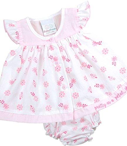BabyPrem Frühchen Kleidchen & Höschen Set Mädchen Babykleidung Hübscher 50-56cm ROSA (Höschen Set Mädchen)