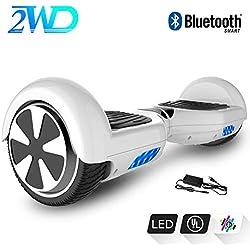 2WD Hoverboard Scooter elettrico auto bilanciato da 6,5 pollici scooter elettrico certificato CE con altoparlanti stereo audio Bluetooth (bianca)