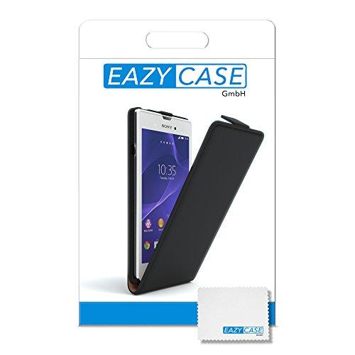 Sony Xperia L Hülle - EAZY CASE Premium Flip Case Handyhülle - Schutzhülle aus Leder in Schwarz Schwarz (Flip)