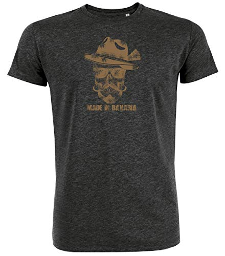 Trachten T-Shirt Herren Made IN Bavaria Bayrischer Totenkopf Bio-Baumwolle Oktoberfest-Shirt Wiesn Österreich Darkgrey-Braun XL