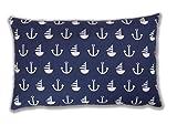 Amilian® Dekokissen Kissenbezug Kissen 40cm x 60cm Anker blau GROß