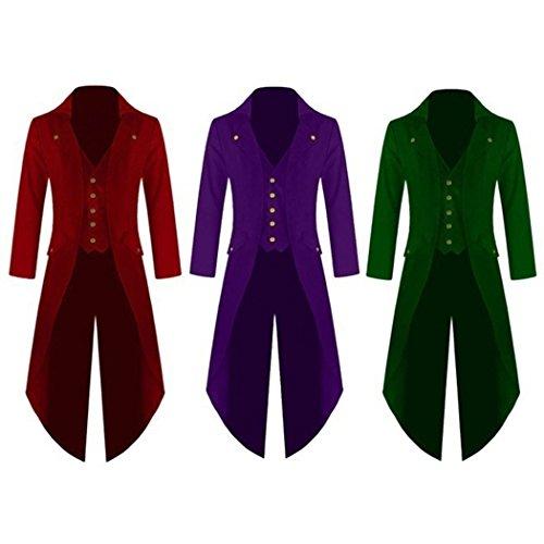 MIOIM Herren Frack Steampunk Gothic Jacke Vintage Viktorianischen Langer Mantel Kostüm Cosplay Kostüm Smoking Jacke Uniform Schwarz