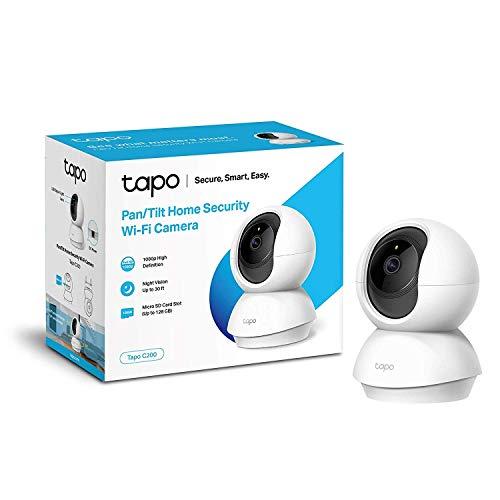 TP-Link Tapo C200 - Cámara Vigilancia, Cámara IP WiFi 1080p Full HD 114° Gran Angular, Zonas de Detección de Movimiento Ajustables, Visión Nocturna, Audio de 2 Vias y Nube, Tarjeta SD de hasta 128 GB