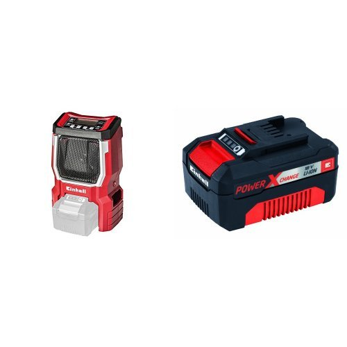 Einhell Akku Radio TE-CR 18 Li Solo Power X-Change (Lithium Ionen, 18 V, AUX inklusive Anschlusskabel für Handy, MP3-Player) + Einhell System Akku Power X-Change (Lithium Ionen Akku, 18 V, 3,0 Ah)