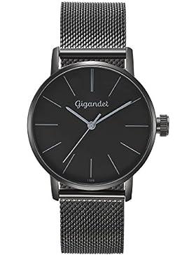 Gigandet Damen-Armbanduhr Minimalism Quarz Uhr Analog Milanaise Edelstahlarmband Schwarz G43-019