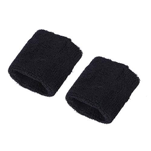 BESPORTBLE 2PC Sport Armband verschwitzt Handtuch Laufen Basketball Handschlaufe dehnbar Baumwolle Hand Bands (schwarz)