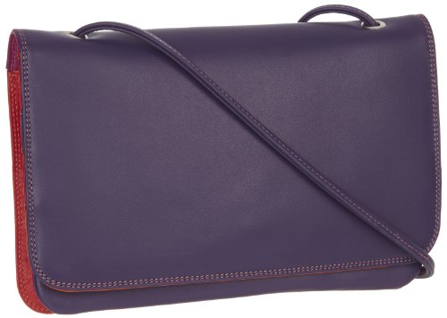 MyWalit - Full Flap Multicomp Shoulder Clutch, Borsa Messenger Donna (Sangria Multi)